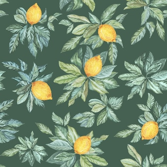 Seamless pattern of watercolor drawings of lemon leaves on a green background