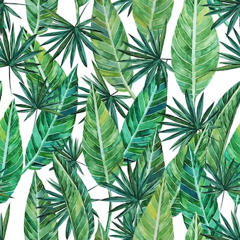 Seamless pattern of watercolor drawings of palm leaves and streltia leaves