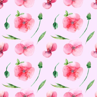 Seamless pattern of watercolor flowers, buds and leaves on a pink background. for wedding printing, gifts, postcards, fabric.