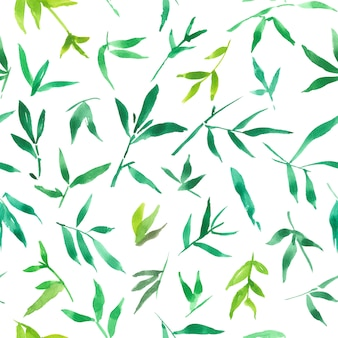 Seamless pattern watercolor of green bamboo leaves