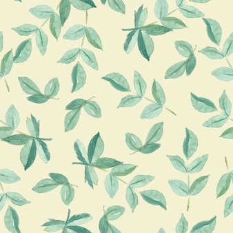 Seamless pattern watercolor of green leaves