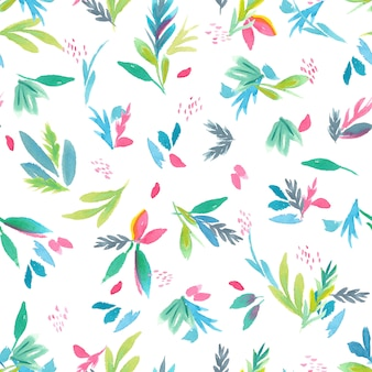カラフルな葉のシームレスパターン水彩画、ファッション繊維の手の絵画植物イラスト