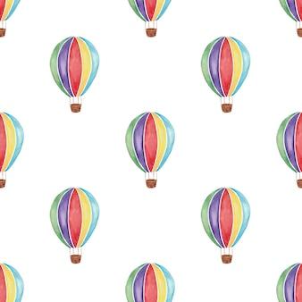 흰색 바탕에 무지개 색 열기구의 원활한 패턴 수채화 그림
