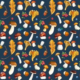 Seamless pattern of wild mushrooms and berries on dark