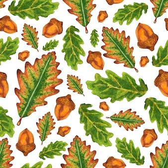 どんぐりと秋のカシの葉とのシームレスなパターン。