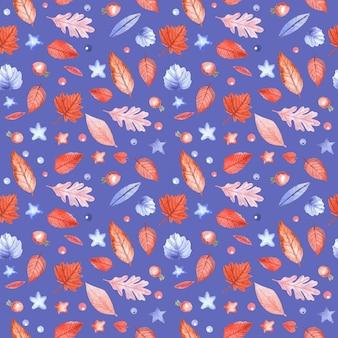 青い背景に紅葉とローズヒップベリーとのシームレスなパターン。手描きの水彩イラスト。