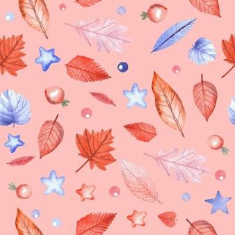 Бесшовный фон с осенними листьями и ягодами шиповника на розовом фоне. ручная роспись акварель иллюстрации.