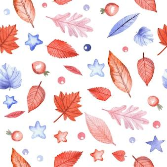 Бесшовный фон с осенними листьями и ягодами шиповника на белом фоне. ручная роспись акварель иллюстрации.