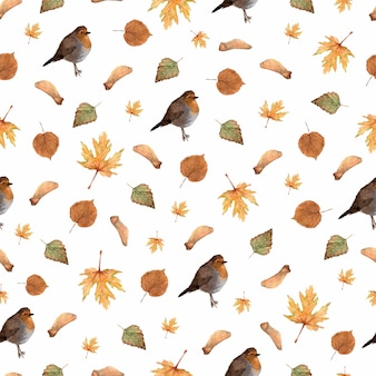 Seamless pattern with autumn leaves and little robin bird