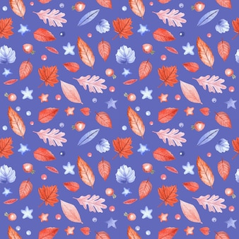 Seamless pattern with autumn leaves and rosehip berries on blue background. hand painted watercolor illustration.
