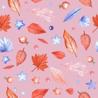 Seamless pattern with autumn leaves and rosehip berries on pink background. hand painted watercolor illustration.