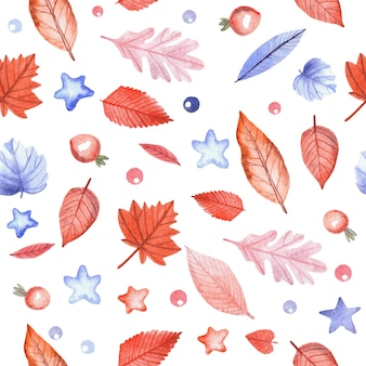 Seamless pattern with autumn leaves and rosehip berries on white background. hand painted watercolor illustration.