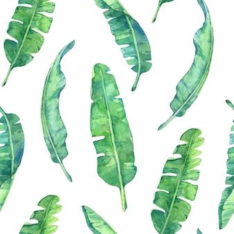 Бесшовный фон с банановыми листьями. ручная роспись в акварели.