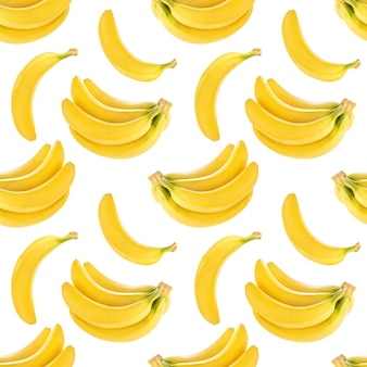 Seamless pattern with bananas isolated , with clipping path