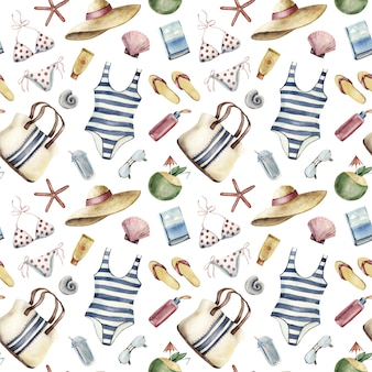 Seamless pattern with beach vacation apparel and things on white background