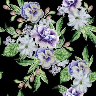 Бесшовный фон с красивыми цветами