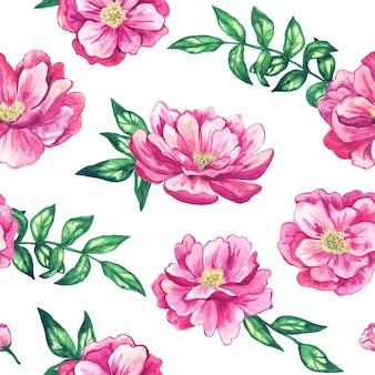 美しいピンクの花とのシームレスなパターン。手描きの水彩イラスト。印刷、ファブリック、テキスタイル、壁紙のテクスチャ。