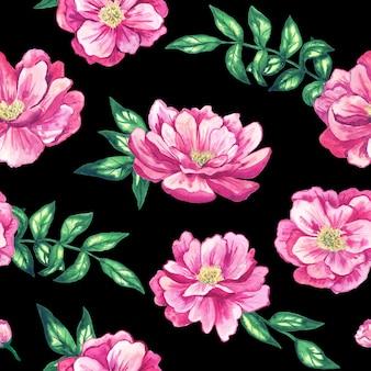 黒に美しいピンクの花とのシームレスなパターン。手描きの水彩イラスト。印刷、ファブリック、テキスタイル、壁紙のテクスチャ。