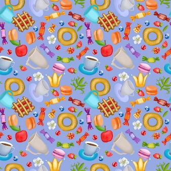 Seamless pattern with berries, sweets and flowers