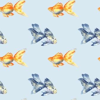 큰 지 느 러 미와 금붕어와 파란 물고기와 완벽 한 패턴