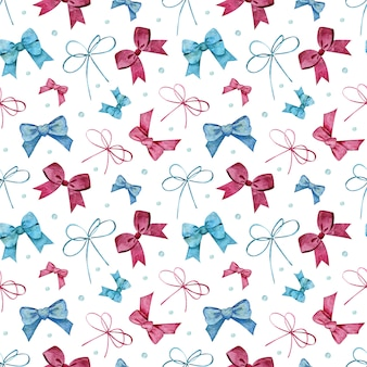 Seamless pattern with blue and pink bows and dots. watercolor illustration of girlish, childish or holiday background.