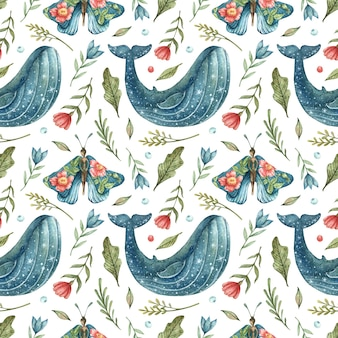 Seamless pattern with a blue whale stars and blue butterfly-girls with flowers on the wings hand-drawn