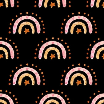 ニュートラルカラーの自由奔放に生きる虹とのシームレスなパターン。水彩手描きイラスト、黒の背景にデジタル紙