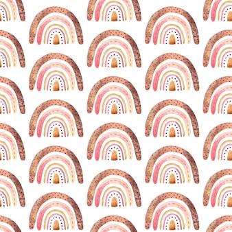 ニュートラルカラーの自由奔放に生きる虹とのシームレスなパターン。水彩手描きイラスト