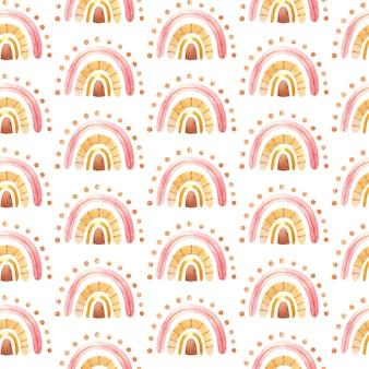 中立的な色の水彩手描きイラスト デジタル ペーパーで星と自由奔放に生きる虹のシームレス パターン