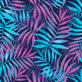 Seamless pattern with bright tropical palm leaves on dark blue background.