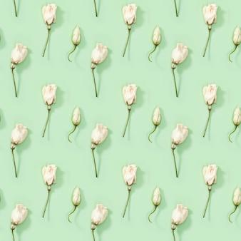 Бесшовный фон с бутоном сухого белого цветка на зеленом естественном цветочном фоне