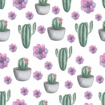 Seamless pattern with cactus  in pot and purple succulents.