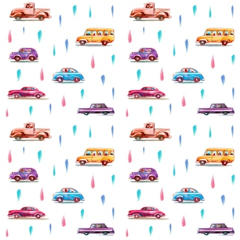 Seamless pattern with cartoon watercolor cars. hand drawn