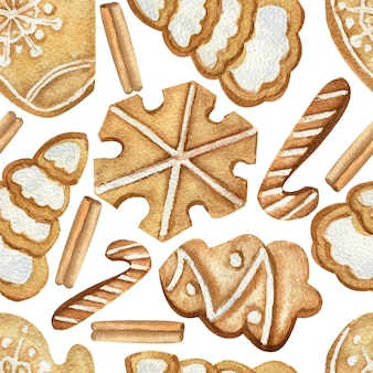白い孤立した背景にクリスマスクッキーとのシームレスなパターン。水彩冬のイラスト。