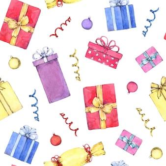 Бесшовный фон с рождественскими подарками. ручная роспись в акварели.