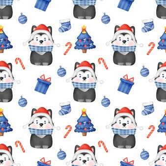산타 모자와 함께 크리스마스 시베리안 허스키 강아지와 함께 완벽 한 패턴입니다.