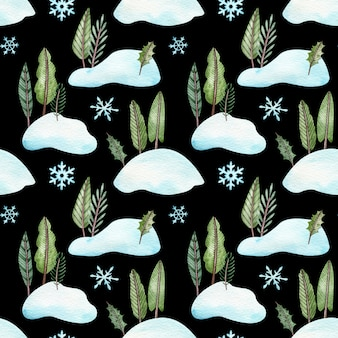 Seamless pattern with christmas trees standing in snowbanks.