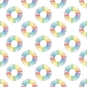 컬러 나무 아이스크림 스틱에서 원형 무지개와 함께 완벽 한 패턴