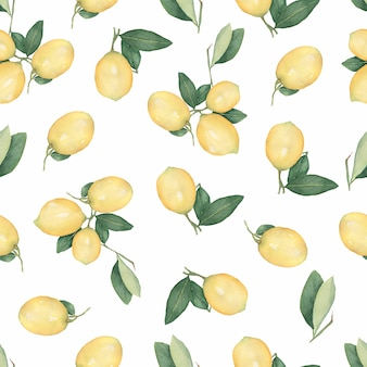 Seamless pattern with citrus fruit lemons on a branch with green leaves