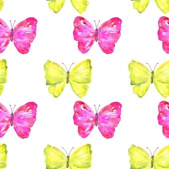 カラフルな黄色とピンクの蝶とのシームレスなパターン。