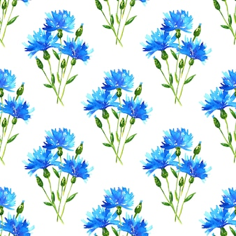 Cornflowers 부케와 완벽 한 패턴입니다. 푸른 아름다운 꽃. 손으로 그린 수채화 그림. 인쇄, 직물, 섬유, 벽지 질감.