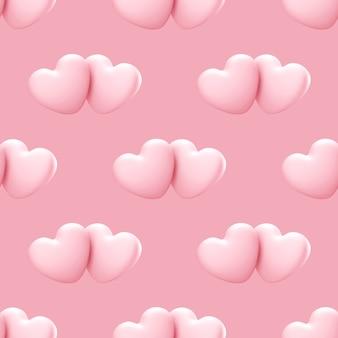 カップルのピンクの3dハートとのシームレスなパターン。シームレスなパターンが大好きです。