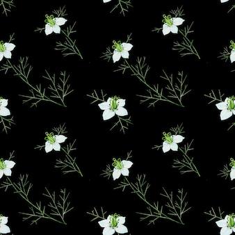 黒の背景にクミンの花とのシームレスなパターン