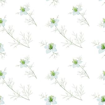 白い背景の上のクミンの花とのシームレスなパターン