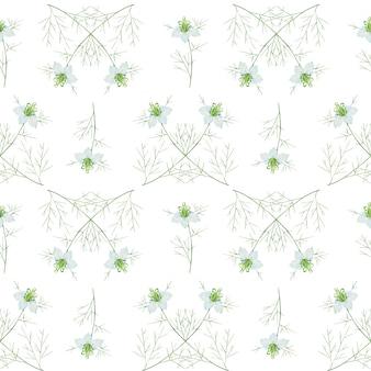 白のクミンの花とのシームレスなパターン