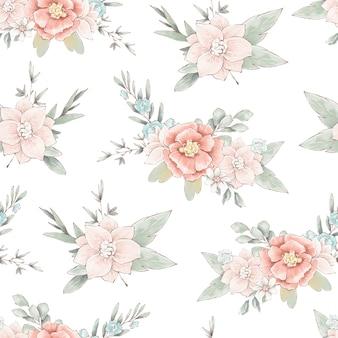 Бесшовный фон с милыми нежными весенними цветами и листьями