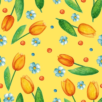 Seamless pattern with cute easter watercolor illustrations. tulips