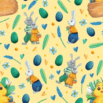 Seamless pattern with cute easter watercolor illustrations.