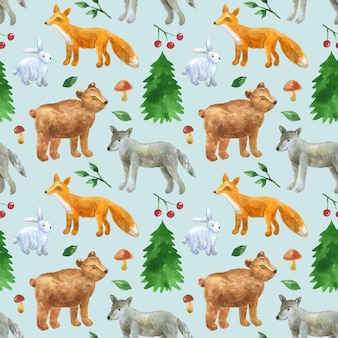 かわいい森の動物とのシームレスなパターン:オオカミ、クマ、キツネ、ウサギ。手描きの水彩イラスト。印刷、ファブリック、テキスタイル、壁紙のテクスチャ。