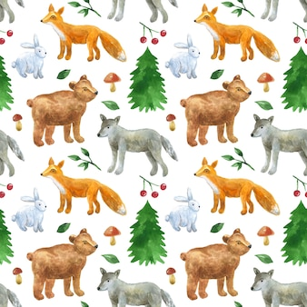Seamless pattern with cute forest animals: wolf, bear, fox, hare. hand drawn watercolor illustration. texture for print, fabric, textile, wallpaper.